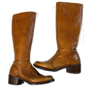 Frye Vintage 1970s Leather Boots Size 5